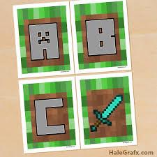 printable minecraft alphabet banner