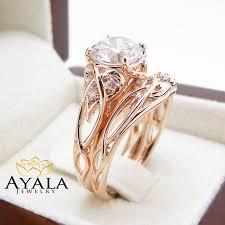 unique engagement ring settings 14k rose gold unique engagement rings 2 carat moissanite ring set