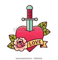traditional heart dagger tattoo rose ribbon stock vector 538615138
