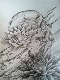 skull and lotus concept drawing for my half sock by gkarts661 on