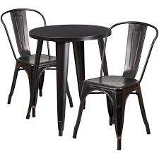 B Q Bistro Table And Chairs 24 U0027 U0027 Round Black Antique Gold Metal Indoor Outdoor Table Set With
