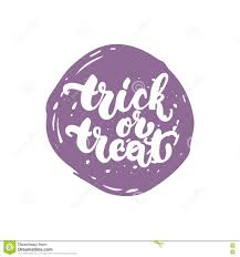 trick or treat halloween party hand drawn lettering phrase card