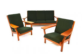 couch and chair set ge320 sofa u0026 easy chairs set by hans j wegner for getama 1950s