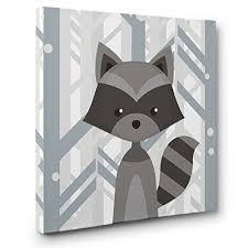 Raccoon Nursery Decor Woodland Creatures Raccoon Nursery Decor Canvas Wall
