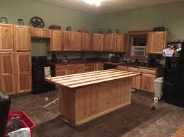 kitchen overview hickory cabinets from lowes walnut butcher