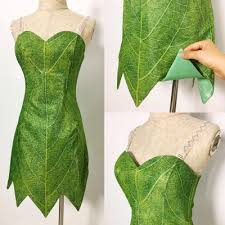 Halloween Costumes Tinkerbell Adults P656 Green Tinkerbell Flannel Leaf Print Dress Costume Custom