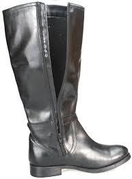 ladies long biker boots ladies real leather knee high low heel flat zip biker riding style