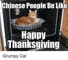 Grumpy Cat Meme Happy - chinese people be like happy thanksgiving grumpy cat meme on me me