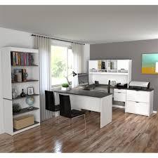 Bestar U Shaped Desk Innova U Shaped Desk With Accessories In White And Antigua