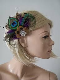 hair fascinator purple brown green peacock pheasant feathers fascinator hair clip