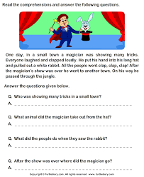 reading comprehension grade reading comprehension magician worksheet turtle diary