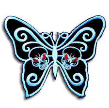 butterfly skull patch iron on motorcycle biker racing badge