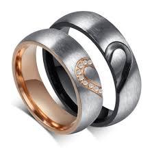 couples rings heart images Elegant heart design titanium steel gemstone promise ring for jpg