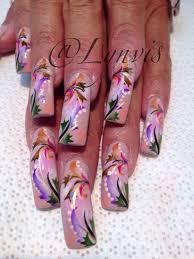really really long nails but cute design nails