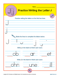 letter j worksheets printable handwriting worksheet