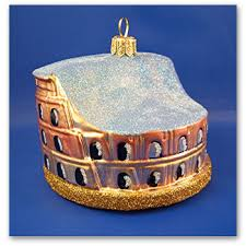 colosseum of rome italy blown glass ornament made in