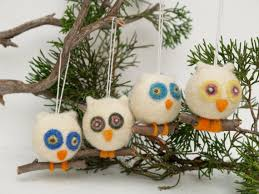 owl ornament wool needle felt decoration woodland tree