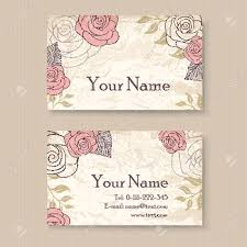 floral business card vintage floral business card template with roses royalty free