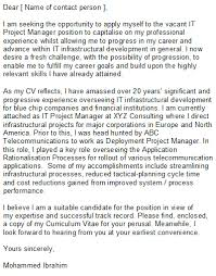 project manager cover letter it project manager cover letter