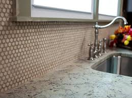 Glass Kitchen Tile Backsplash Ideas Amazing Dotted Kitchen Tile Backsplash With Single Iron Faucet And