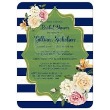 bridal shower invitation navy green white stripes vintage