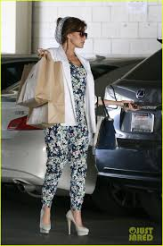 jim falk lexus of beverly hills eva mendes looks ready for spring in a cute floral jumpsuit