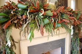 Corn Stalk Decoration Ideas Christmas Mantel Decorated With Natural Greenery In Southern