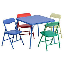 Kitchen Folding Table And Chairs - amazon com flash furniture kids colorful 5 piece folding table