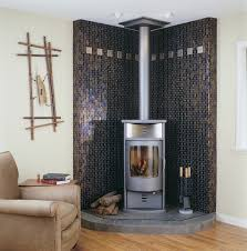 decorations retro modern two sided corner fireplace interior