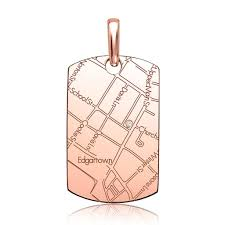 Map Rose 14k Rose Gold Women U0027s Map Dog Tag Pendant Maps By A Jaffe