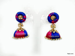 royal blue earrings yaalz silk thread simple hanging jumka with stud in pink with