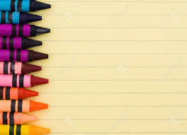 lined writing paper with picture space colorful crayons on a sheet of lined paper education background colorful crayons on a sheet of lined paper education background stock photo 7315592