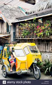 philippine tricycle street scene with tricycle calbayog samar philippines stock