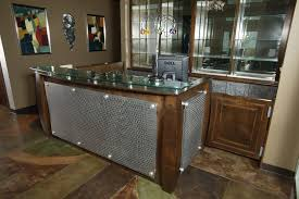 Wood Reception Desk Wood And Metal Reception Desk Custom Wooden Cabinets And Furniture