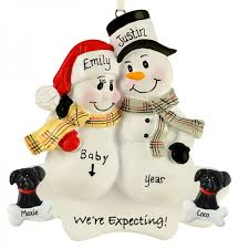 expecting snow 2 dogs plaid scarves ornament