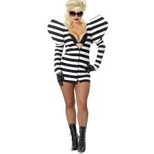 womens black and white gaga lady prison telephone costume
