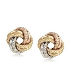 9ct gold stud earrings 9ct gold tri colour textured knot stud earrings qvc uk