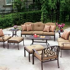 Resin Patio Furniture Clearance Voguish Elysian Patio Conversation Set Sofa Sunbrella Canvas