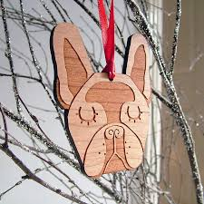 french bulldog wooden christmas decoration by hoobynoo