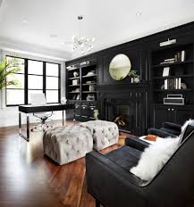 mirror over fireplace home office transitional with gray ottoman