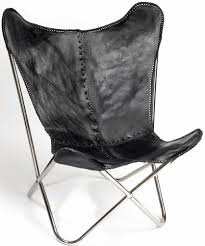 buy butterfly black leather chair with silver legs online furntastic
