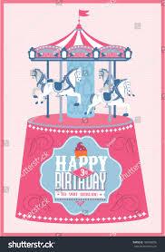 Merry Birthday Card Carouselmerry Go Round Birthday Card Template Stock Vector
