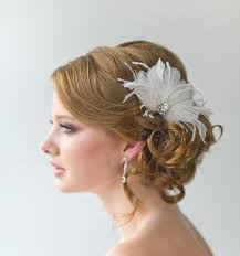 feather hair clip bridal fascinator wedding hair accessory feather