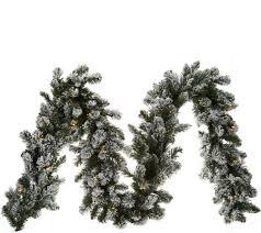 bethlehem lights prelit 9 flocked garland page 1 qvc
