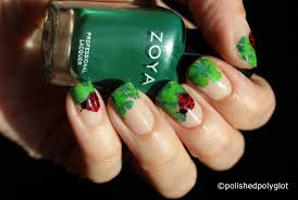 nail art four leaves clovers and ladybugs 26gnai polished