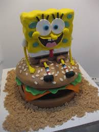 spongebob squarepants cake i made spongebob squarepants sitting on a crabby patty for my