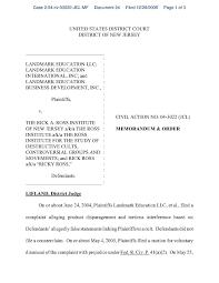 file 2005 landmark v ross memorandum and order granting landmark