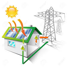 use solar illustration of a house equipped for sale and use solar energy