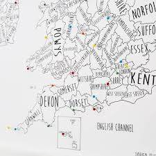 Britain Map Personalised Great Britain And Ireland Pinboard Map By Louisa