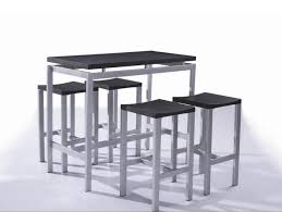 table haute et 4 tabourets contemporain noir madrid madrid